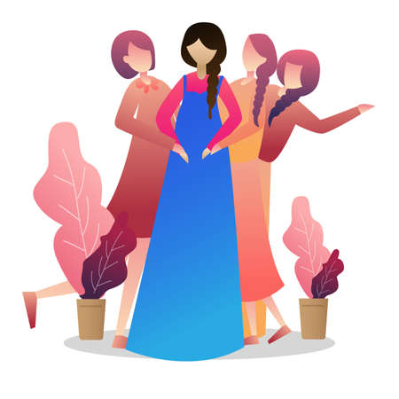 Beautiful pregnant woman with her friends and presents smiling at camera. Ilustrace
