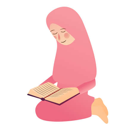 Illustration of A Muslim Girl read Quran Islam holy book