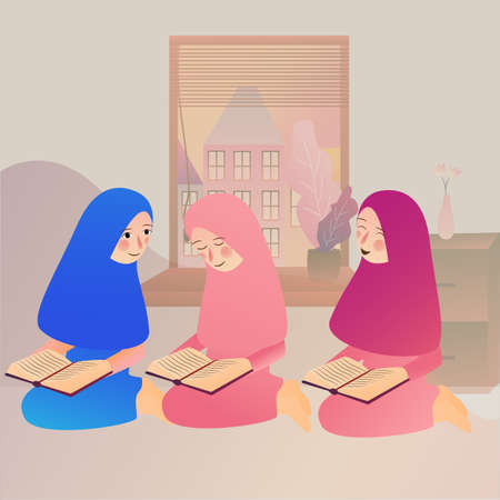 Illustration of A Muslim Girl read Quran Islam holy book at home together with friends