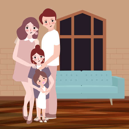 Young happy family with children pose indoor living room hous with sofa in background. vector drawing illustration.