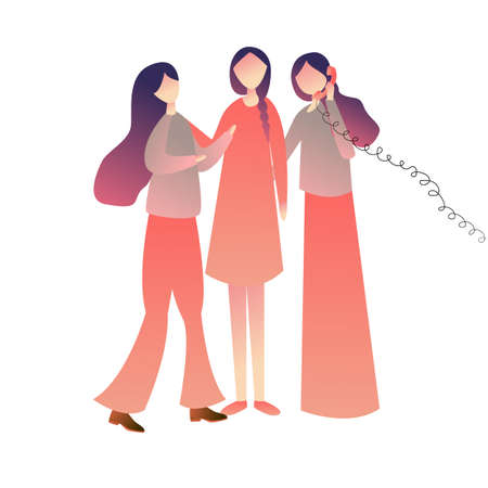 Cheerful friends woman girls standing on call together, enjoying playing old wired phone commubnication symbol. vector illustration drawing