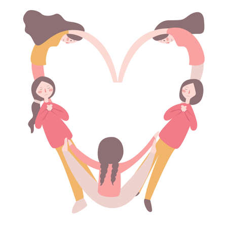 girls forming a valentine s heart shape with their bodies, isolated over white background, concept of valentine day, symbol of freedom, peace and love vector illustration