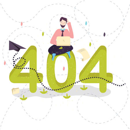 404 error page not found concept illustration of people using laptops having problems with website. Flat design of guys sitting near big symbol 404 working on laptops. vector