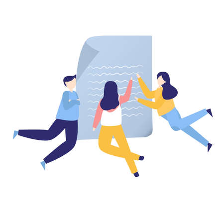 Team of friends reading review paper document and negotiating collaboration together. vector flat illustration