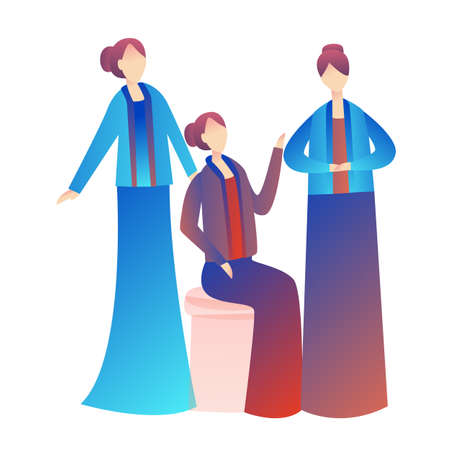 Friends wearing Kebaya Kartini traditional Indonesia clothes fashion. Chat talking together. Vector flat illustration gradient Ilustrace