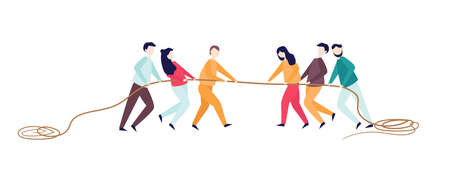 Excited man woman pull rope. Tug of war competition between two teams. Concept of sports activity for teens. team work competitive fight. Vector illustration flat.