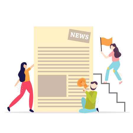 Business people reading daily press. Vector illustration