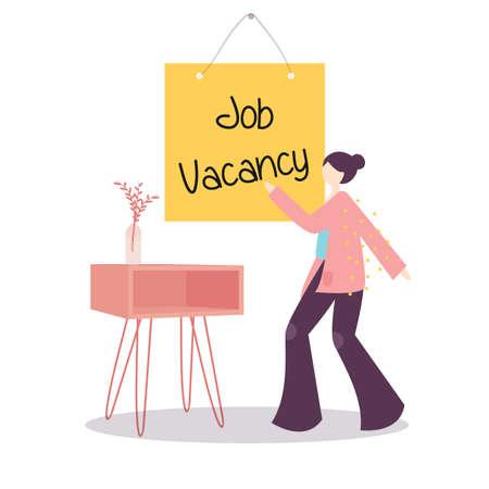 job vacancy announcement sign. vector illustration female hire recruitment woman flat