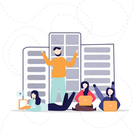 Social network web site surfing concept illustration of young people using laptop or notebook to be a part of online community and working.