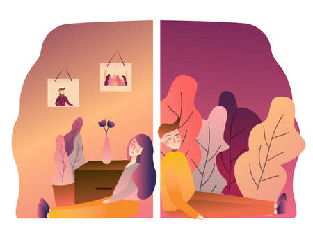 Couple with problems in relationship sad broken. back on wall. angry boyfriend girlfriend upset conflict. vector illustration gradient