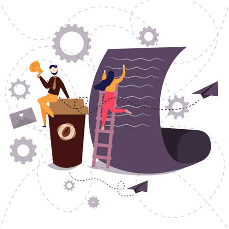 business office worker writing on large paper with a tall coffee cup. collaboration work vector Ilustrace