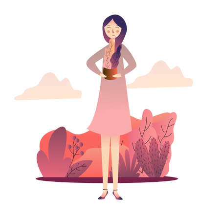 Smiling female gardener holding potted plants isolated on white background vector cartoon