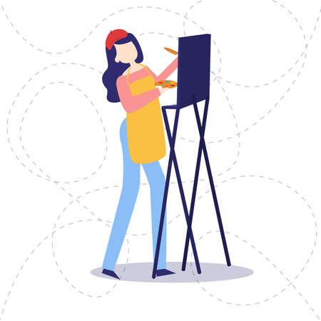 Female painter drawing in art studio using easel. Portrait of a young woman painting with aquarelle paints on white canvas, side view portrait vector