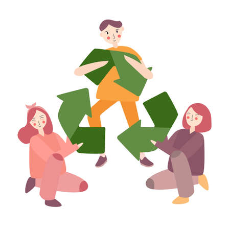 Recycling Symbol friends together eco environment sustainable together vector Ilustrace