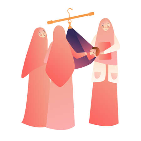 Mommy is measuring baby weigh on scales. muslin woman wearing hijab scarf