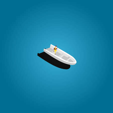 A small boat moving through calm water in ocean. alone. vector Illustration