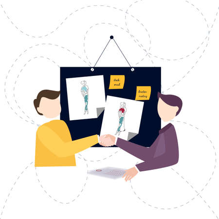 Welcome to my design studio. Two young fashionable men shaking hands and smiling in workshop. vector Çizim