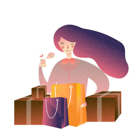 Happy woman holding shopping bag many color enjoying. Consumerism, nline, commerce, lifestyle concept vector