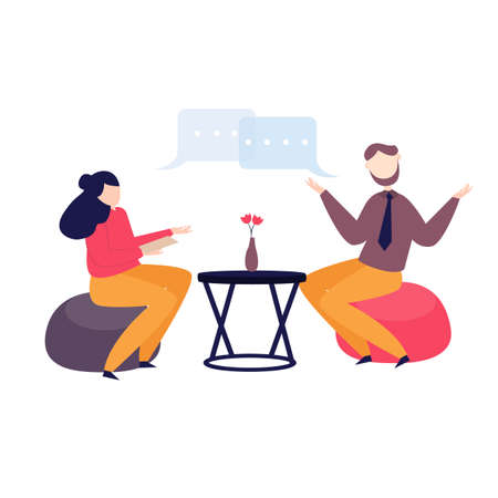 Happy businesswoman and businessman having coffee break talking discussion chat vector