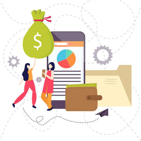 two woman standing with money and smart phone discussing business. There is also a leather wallet vector