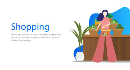 Grocery vegetable shopping concept design for web banners. People female make purchases in store. Flat style vector illustration.