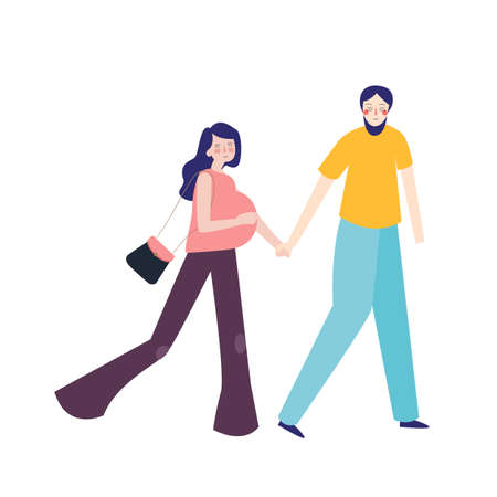 Young family expecting child pregnant woman and husband . man holding his wife walking together. vector flat Ilustrace