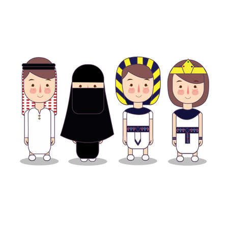 Arab and egypt clothes. Set of cartoon characters in traditional costume.