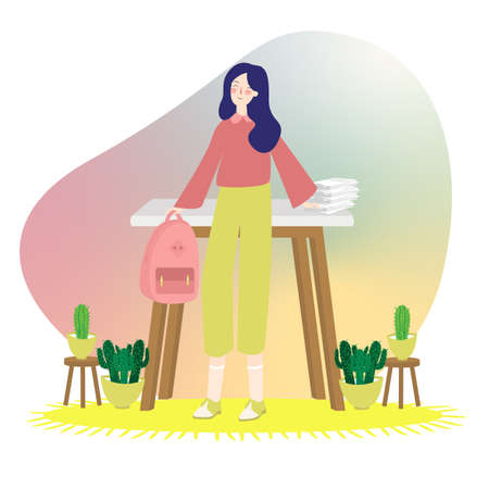 Young college student standing in front of table desk and paper with backpack and plant around it. university girl vector illustration Foto de archivo - 127546039
