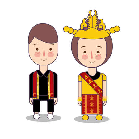 Batak couple traditional national clothes of Indonesia. Set of cartoon characters in traditional costume. Cute people. flat illustrations. Foto de archivo - 127546041
