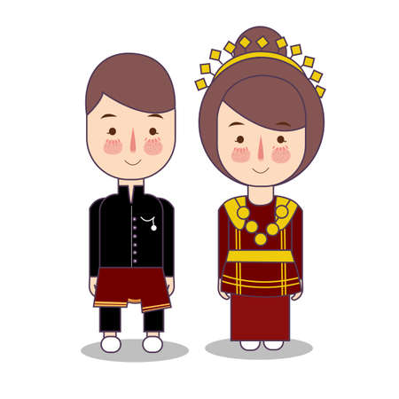 Bengkulu couple traditional national clothes of Indonesia. Set of cartoon characters in traditional costume. Cute people. Vector flat illustrations.