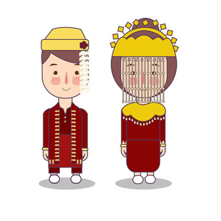 Betawi Jakarta couple traditional national clothes of Indonesia. Set of cartoon characters in traditional costume. Cute people. flat illustrations. Foto de archivo - 127486366