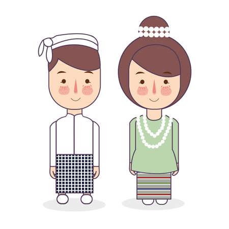 Vêtements nationaux traditionnels de couple birman du Myanmar. Ensemble de personnages de dessins animés en costume traditionnel. Gens mignons. Illustrations vectorielles à plat. Vecteurs