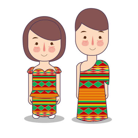 Ghana couple traditional national clothes of country in west africa. Set of cartoon characters in traditional costume. Cute people. flat illustrations. Foto de archivo - 127486369