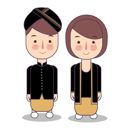 Central Java Yogyakarta Indonesia Wedding Couple, cute Indonesian traditional clothes costume bride and groom cartoon vector illustration in black Foto de archivo - 127285662