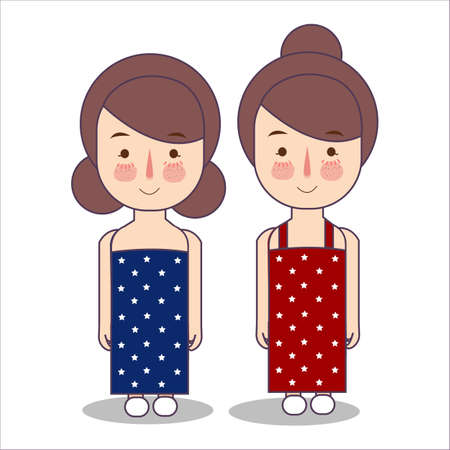 girls wearing celebration USA America patriotism fourth july costume stripes using uncle sam hat vector illustrator flat Foto de archivo - 127200912