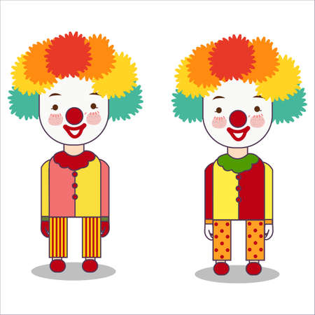 Portrait of clown isolated on white background wearing costume with wig and red nose occupation flat vector illustration
