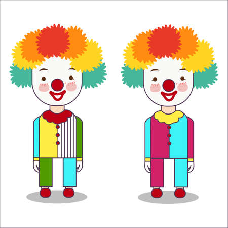Portrait of clown isolated on white background wearing costume with wig and red nose occupation flat vector illustration Foto de archivo - 127200913