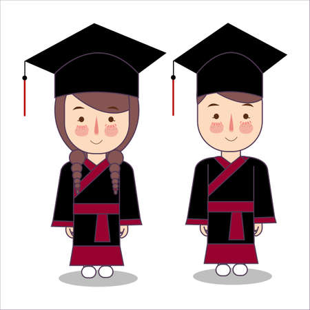 Japanese style vector cartoon style kids characters in graduation robe toga cap. Boy and girl pupil isolated on white background. illustration Foto de archivo - 127200917