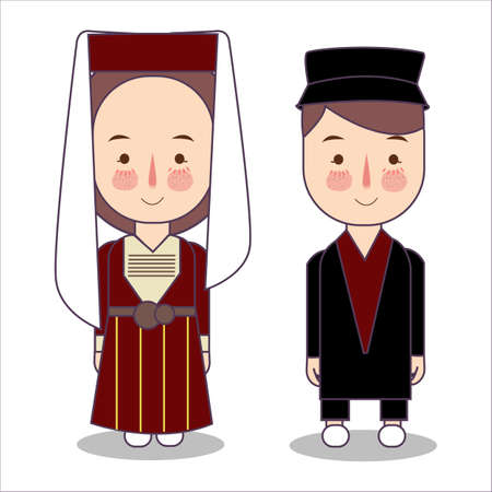 traditional national clothes of Russian Circassians Adighe. Set of cartoon characters in traditional costume. Cute people. Vector flat illustrations. Çizim