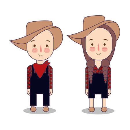 Cowboy and cowgirl. Farmer America USA. Funny cartoon and vector characters, isolated objects illustration Foto de archivo - 127128980