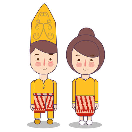 West Kalimantan Malay Malaysia traditional national clothes of Indonesia. Set of cartoon characters in traditional costume. Cute people. Vector flat illustrations. Foto de archivo - 127128983