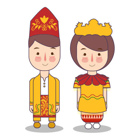 South Kalimantan traditional national clothes of Indonesia. Set of cartoon characters in traditional costume. Cute people. Vector flat illustrations. Foto de archivo - 127128984