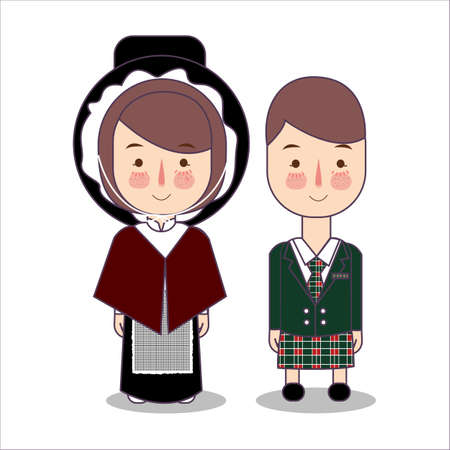 traditional highland dress Scotland, United Kingdom. traditional national clothes. Set of cartoon characters in traditional costume. Cute people. Vector flat illustrations. Foto de archivo - 127128985
