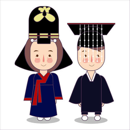 King and Queen ceremonial traditional national clothes of Korea. Set of cartoon characters in traditional costume. Vector flat illustrations. Reklamní fotografie