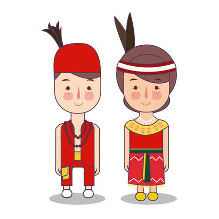 Dayak central Kalimantan traditional national clothes of Indonesia. Set of cartoon characters in traditional costume. Cute people. Vector illustrations. Reklamní fotografie
