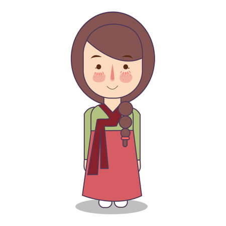 south korean traditional national clothes of Korea. Set of cartoon characters in traditional costume. Cute people. vector illustration Foto de archivo - 127128987