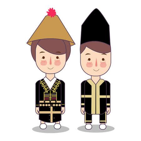 Malaysia Sabah Braut- und Bräutigamkarikaturhochzeit. traditionelle nationale Kleidung. Satz von Zeichentrickfiguren in traditioneller Tracht. Illustrationsvektor flach.