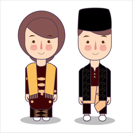 Malaysia bride and groom cartoon wedding. traditional national clothes. Set of cartoon characters in traditional costume. Illustration vector flat. Illustration