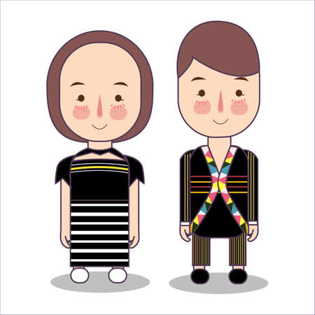 Malaysia Rungus Sabah bride and groom cartoon wedding. traditional national clothes. Set of cartoon characters in traditional costume. Illustration vector flat.  イラスト・ベクター素材