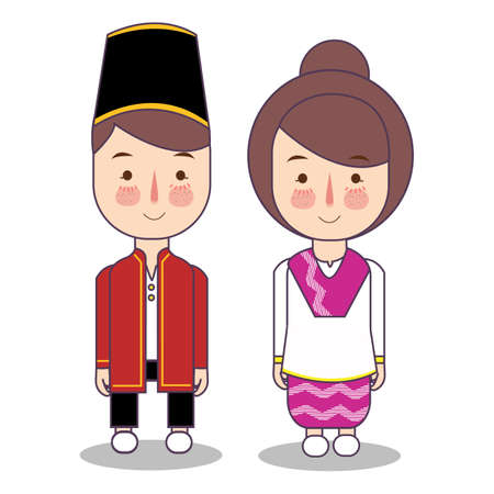 North Maluku province wedding Couple, cute Indonesian traditional clothes costume bride and groom cartoon vector illustration flat Foto de archivo - 126768225